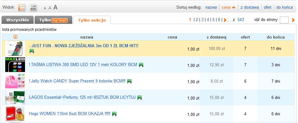 Aukcje BCM (Bez Ceny Minimalnej)