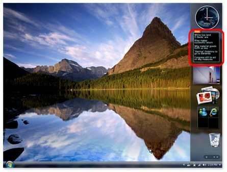 Jeden z widgetów na pulpicie w Windows Vista (zaznaczony na czerwono)