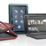 Dell Inspiron Duo (po lewej widać obracany ekran, w środku komputer w wariancie tabletu, w prawej jako netbook)